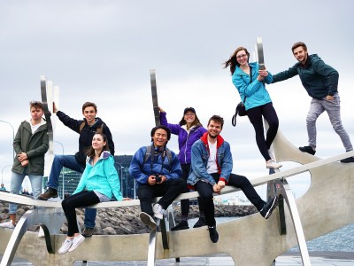 St. Olaf students pose with the he Solfar (Sun Voyager) Sculpture in Reykjavik, Iceland.