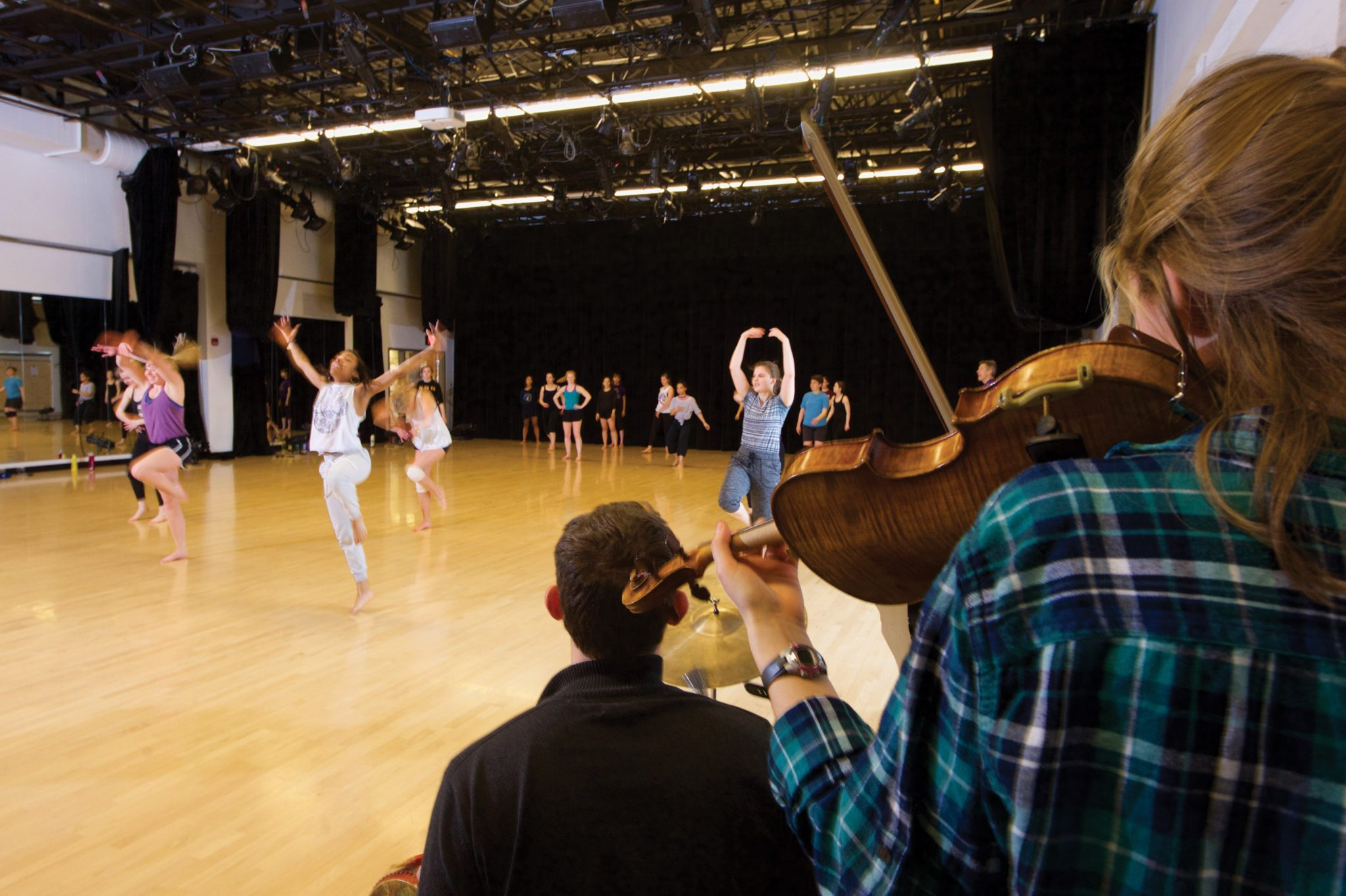Musicians play during a dance rehearsal.