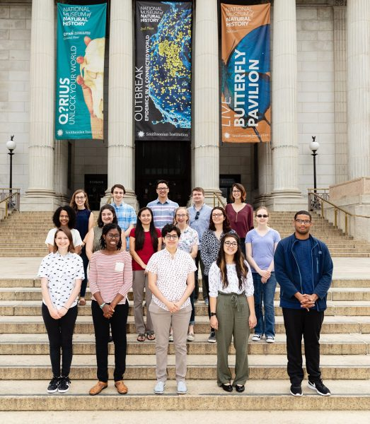 The Natural History Research Experiences (NHRE) interns on May 29, 2018, on the National Mall steps of the Smithsonian National Museum of Natural History. (Front row, l-r) 1.Rilla McKeegan, Freshman at Amherst College. 2. D'Maia Curry, Junior at Pomona College. 3. Ashley Espinoza, Junior at Mercyhurst University. 4. Amanda Markee, Junior at New College of Florida. 5. Jared Richards, Sophomore at University of North Carolina. (Middle row, l-r) 6. Maya Woolfolk, Sophomore at University of Kentucky. 7. Sadie Friend, Sophomore at Radford University. 8. Kendra McCabe, Senior at Arizonia State University. 9. Becca Goughnour, Sophomore at Adrian College. 10. Hanna Ranft, Sophomore at John Hopkins University. 11. Catherine Gilbert (Back row, l-r) 12. Mason Scher, Sophomore at Drew University. 13. Jake Aquadro, Sophomore at Brown University. 14. Ian Ocampo, Junior at, Sonoma State College. 15. Alec Wilken, Junior at University of Missouri. 16. Gina Errico, Sophomore at The College of New Jersey.