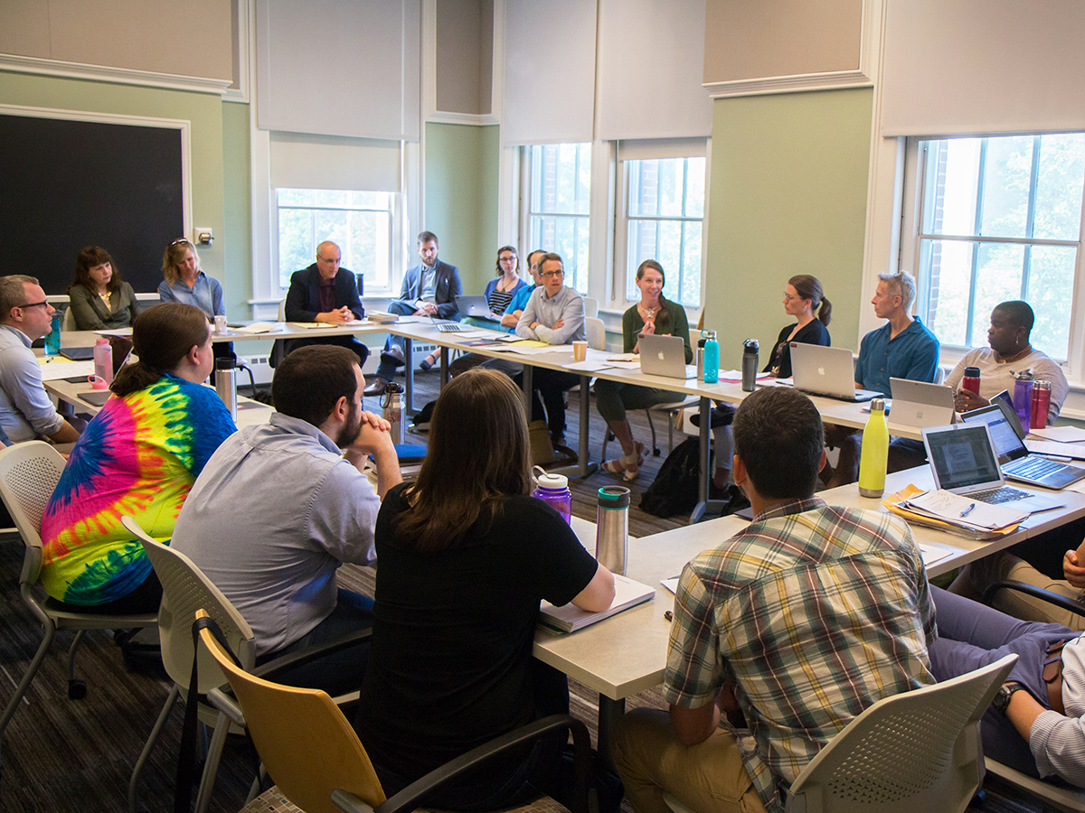 """St. Olaf faculty members participate in discussion facilitated by Heterodox Academy Executive Director Debra Mashek during the first day of the Institute for Freedom & Community's seminar on """"Viewpoint Diversity and General Education."""""""