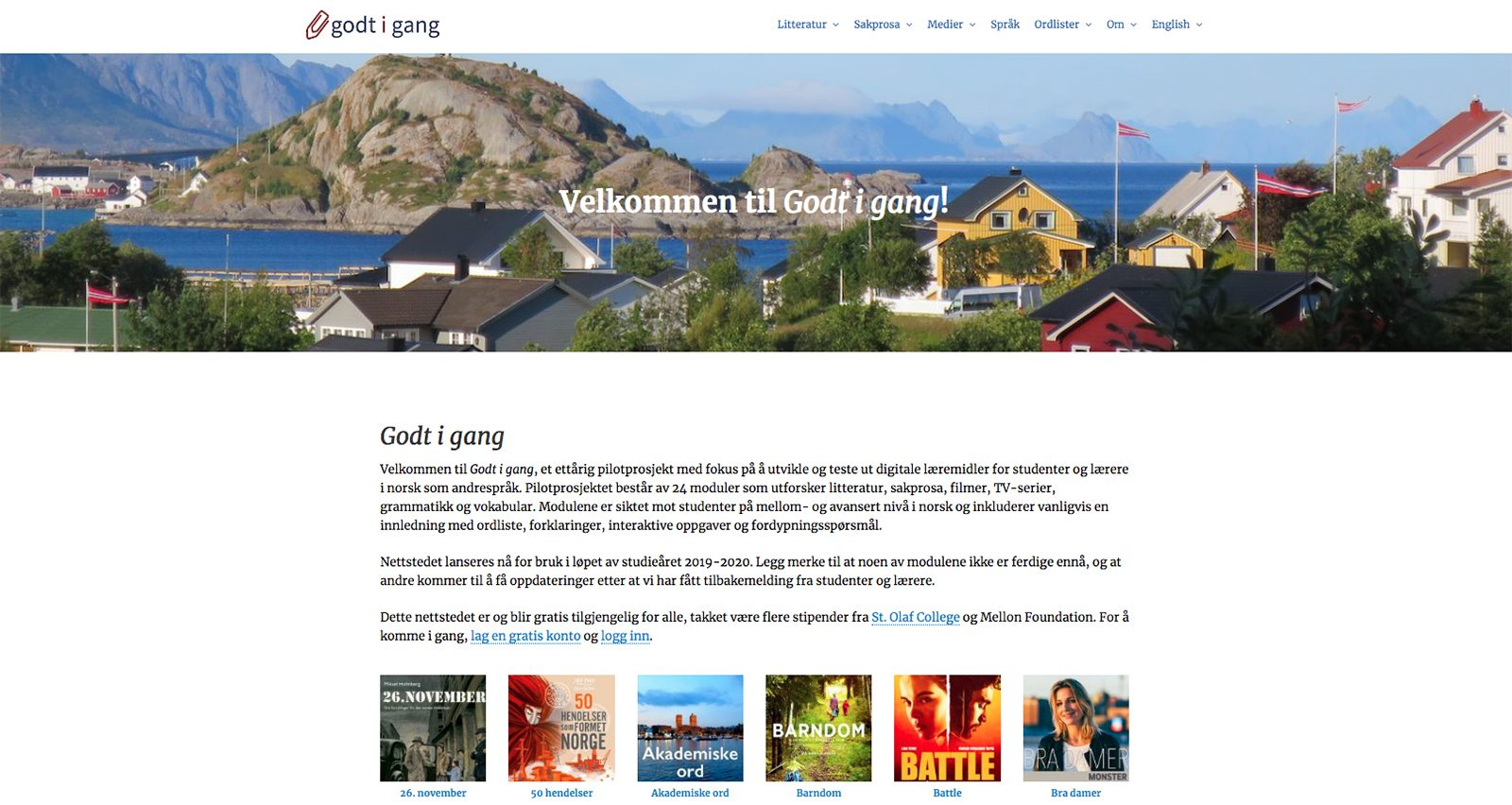 A screenshot of the Godt i gang site