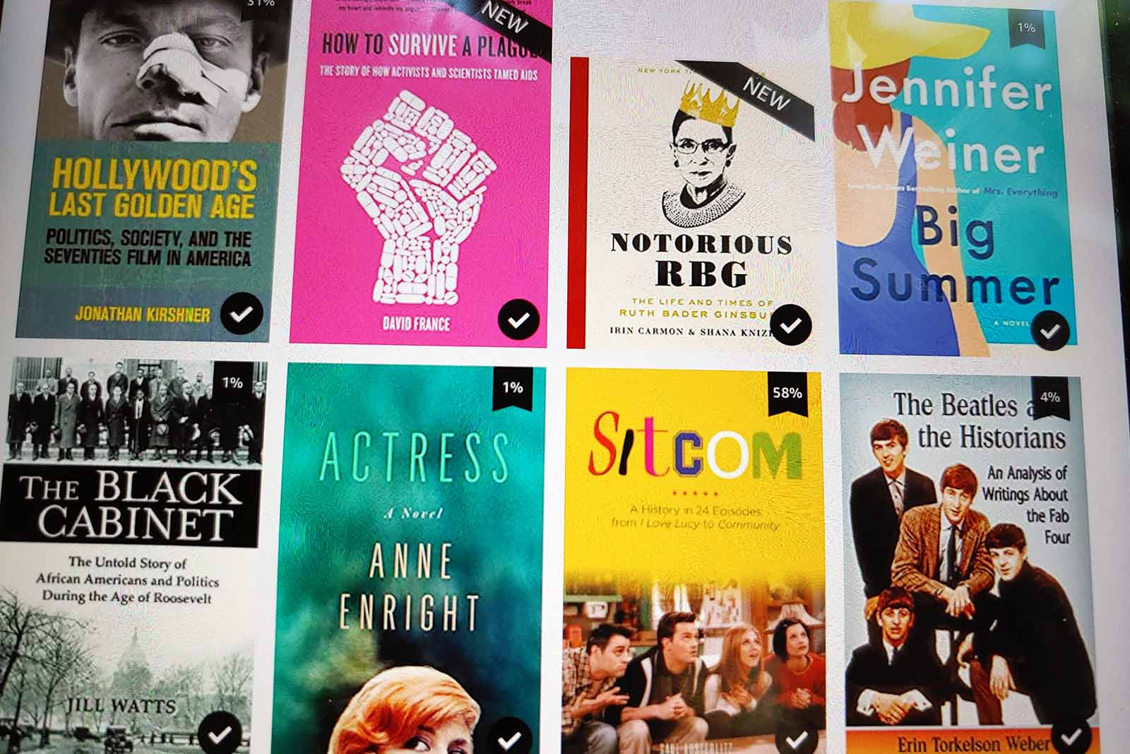 Some of the books that Professor of History Judy Kutulas has either read or intends to read on her e-reader.