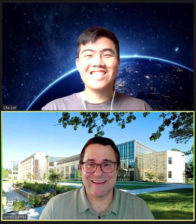 Cha Lor '22 and Associate Professor of Biology and Physics Jay Demas meet virtually to work on their CURI project.