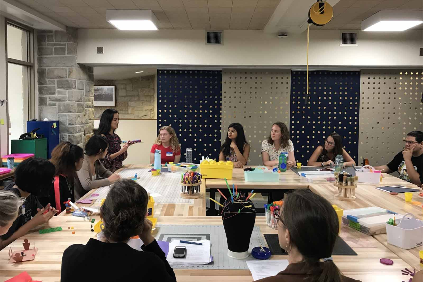 The training with the Writing and Research Tutors in the Makerspace.