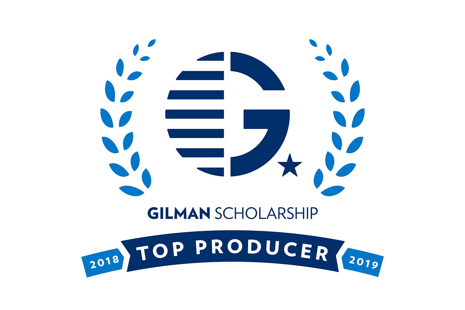 "Badge with white background and blue text and logo that says ""Gilman Scholarship 2018-2019 Top Producer."""