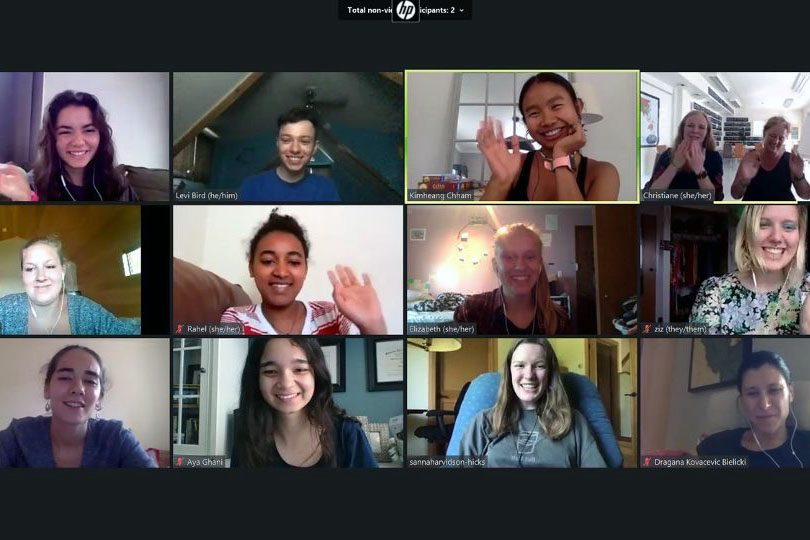Peace Scholars in a Zoom meeting.