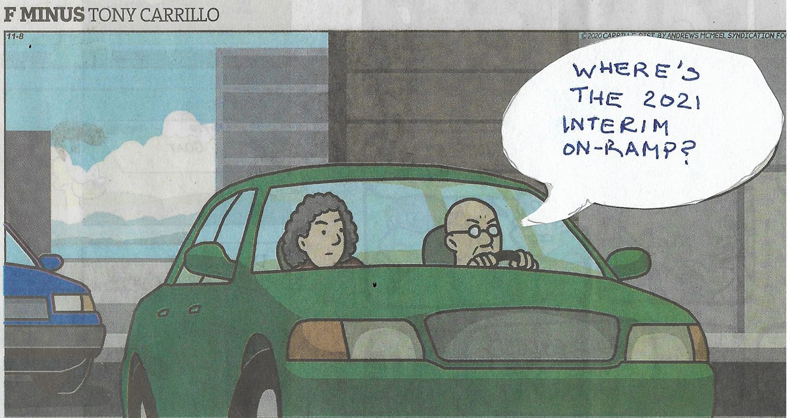 "A cartoon of two drivers in a car with the thought bubble ""Where's the 2021 Interim on-ramp?"""