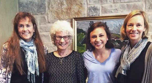 Claire Cummins '15 (second from right) at a Women's and Gender Studies end-of-the-year celebration in 2015 with faculty members (from left) Professor of Interdisciplinary Studies Diane LeBlanc, Professor of History Judy Kutulas, and Associate Professor of History and Department Chair Anna Kuxhausen.