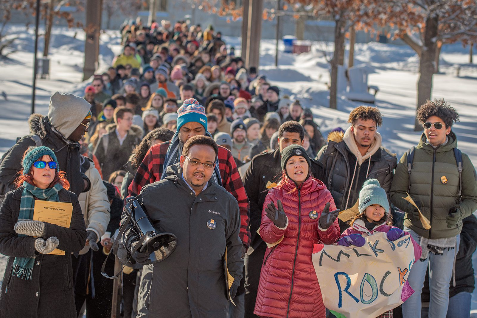 Interim Vice President for Equity and Inclusion María Pabón Gautier (front row, right) marches with members of the St. Olaf Community on Martin Luther King Jr. Day, January 20, 2020