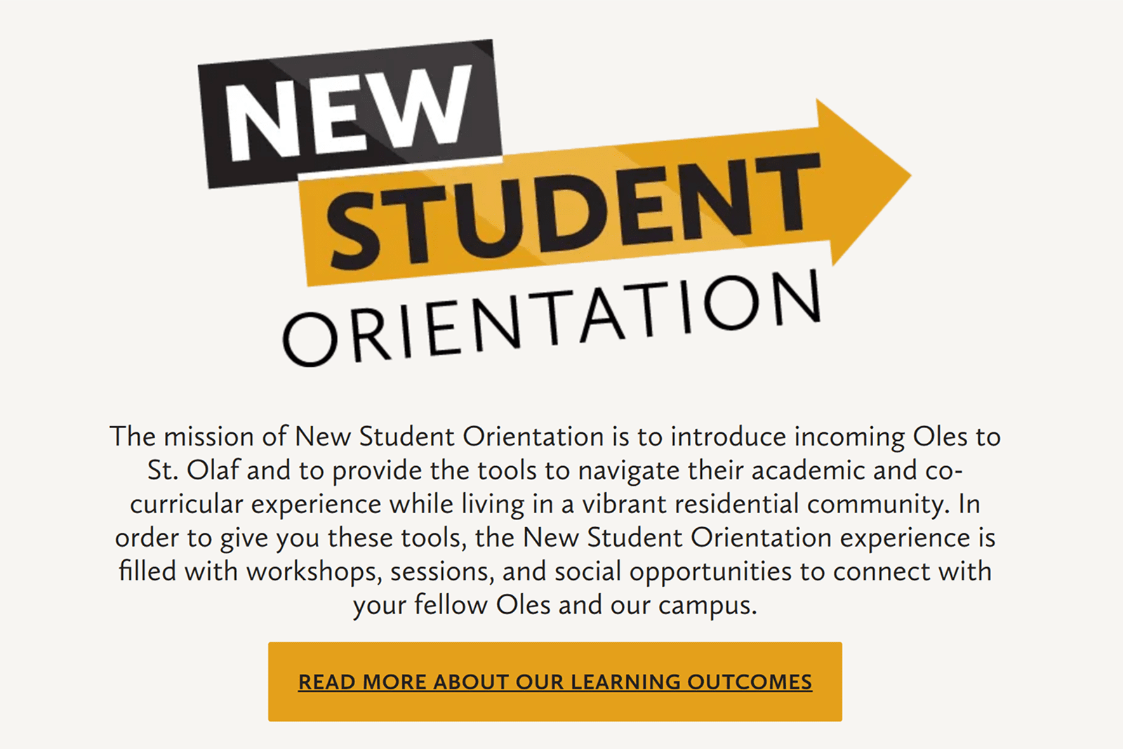 Screenshot of a web page about New Student Orientation.