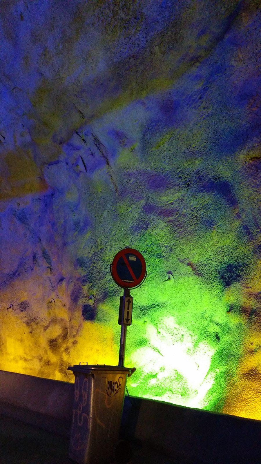 Professor of History Judy Kutulas took this photo inside Norway's brightly lit Lærdalstunnelen.
