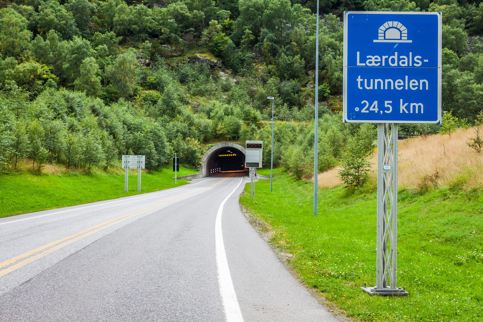 A photo of the entrance to Norway's 15-mile Lærdalstunnelen.