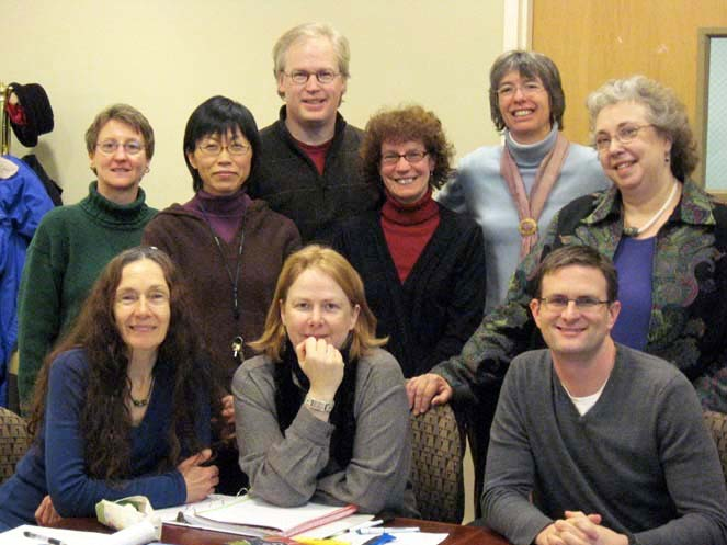 Faculty members who attended an early 1990s Boldt Seminar on film included (top row, from left) Professor Emerita of History Dolores Peters, Professor of Asian Studies Rika Ito, Associate Professor of Religion Jim Hanson, Professor of History Judy Kutulas, former Assistant Professor of English Jenny Dunning, Professor Emerita of English Diana Postlethwaite, (front row, left to right) Professor Emerita of German Karen Achberger, Professor of Music Kathryn Ananda-Owens, and Associate Professor of Religion Jason Ripley.