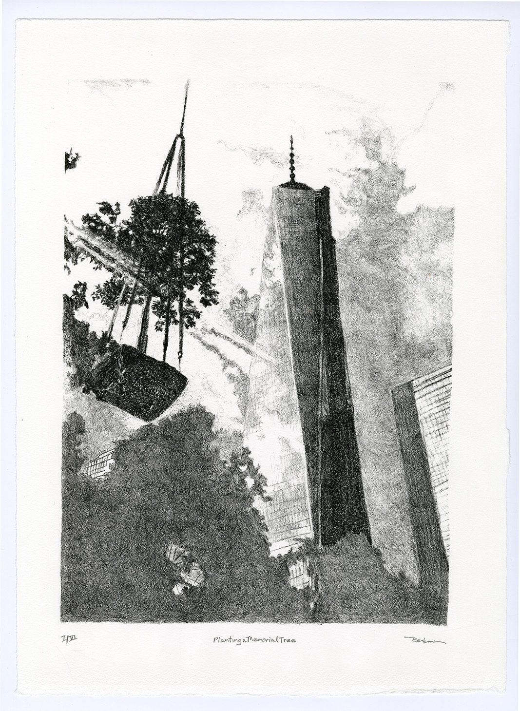"""""""Planting a Memorial Tree"""" by Brenda Berkman '73 depicts a Swamp White Oak tree being hoisted up in front of One World Trade Center as it is being constructed. It is one of over 400 trees to be planted at the 9/11 Memorial. Clouds reflect on the building's surface and trees in the foreground grow in the graveyard of St. Paul's Chapel."""