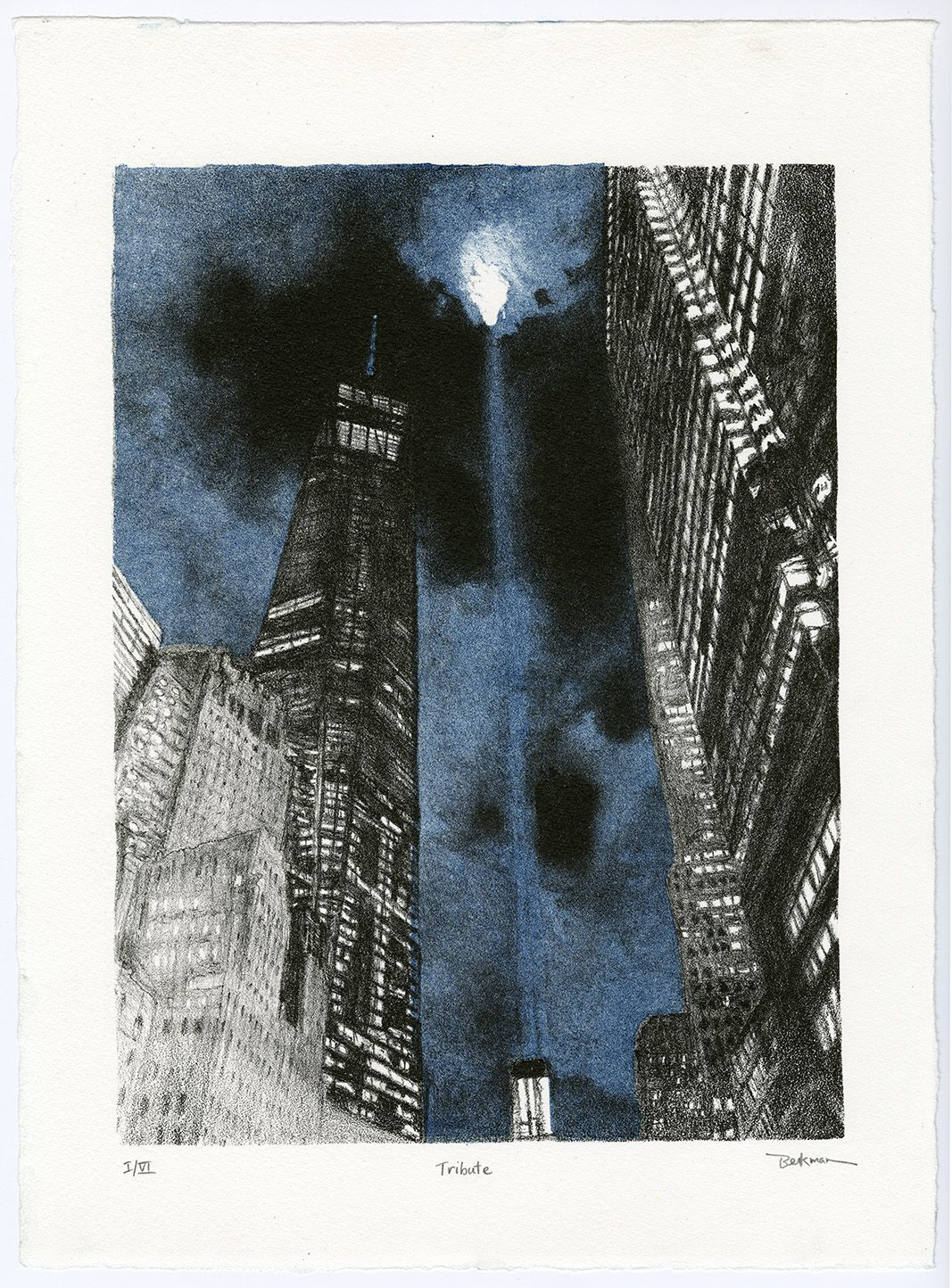 """""""Tribute"""" by Brenda Berkman '73 is a two-color lithograph on paper that is part of the """"Thirty-Six Views of One World Trade Center."""""""