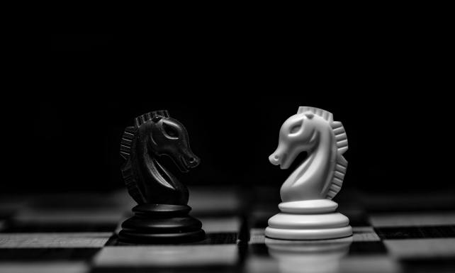 Conceptual photograph of chess board