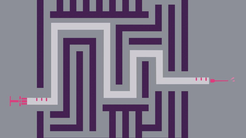 Imagen de un laberinto púrpura con el camino resaltado como una aguja de vacunación blanca con marcas rojas sobre un fondo gris