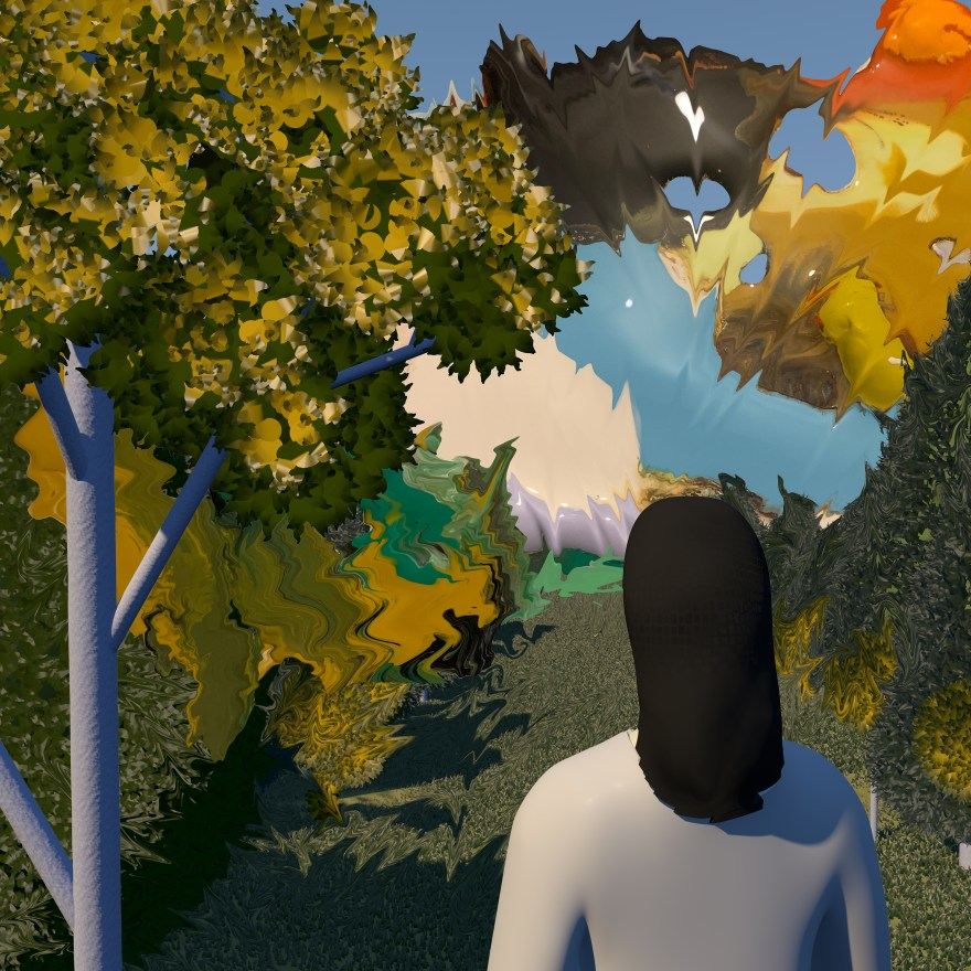 abstract illustration o a person looking out at a forest