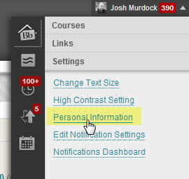 SMS Notifications Blackboard Step 2