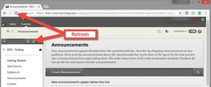 Blackboard Course Menu Refresh Button