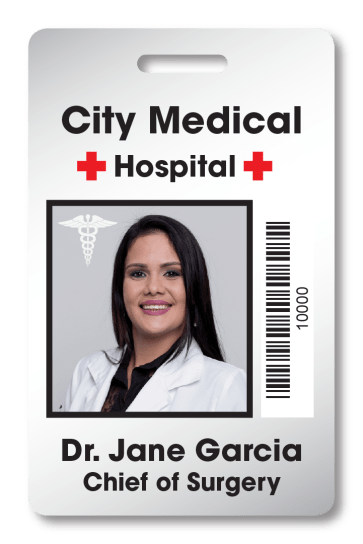 Hospital access badge for City Medical Hospital with ID photo of doctor and the name and title Dr. Jane Garcia MD with an access barcode