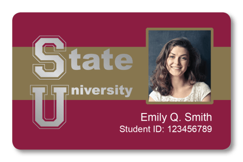 Student ID card for State University with ID photo of young woman, the name Emily Q. Smith, and a student ID number
