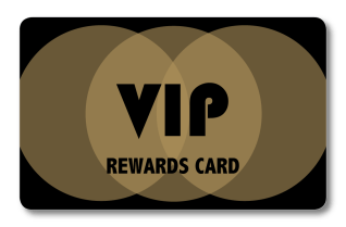 VIP rewards loyalty card with gold interlocking circles
