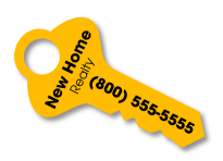"Key-Shaped Key Tag (3""x1.5"")"