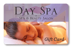 Spa and Salon Gift Card for Day Spa spa and beauty salon with woman getting massage