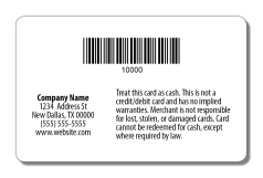 Gift Card Back with Barcode Option