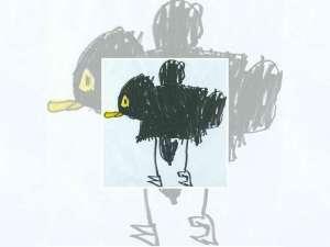 Ein Bild von Mauersegler Piep, das ein Sohn Philipp zum Abschied gemalt hat, © Angelika Blum