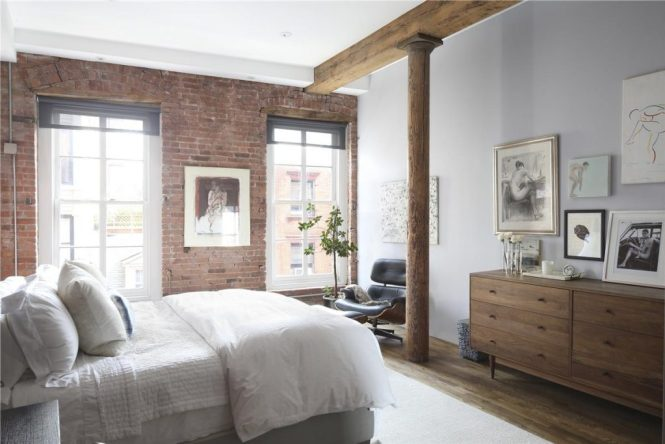This South Street Seaport Loft Features Many Interior Walls Of Exposed Brick