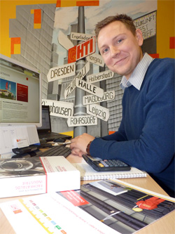 Christian Malinowski an seinem Arbeitsplatz