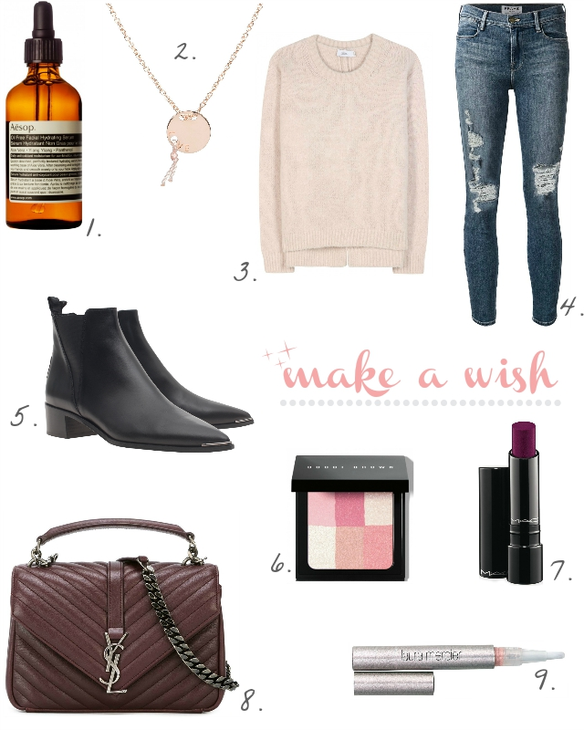Aesop Serum, Anna Inspired Jewelry Kette Rosegold, Rosa Pullover mit Alpakawolle von Closed, Frame Destroyed Denim, schwarze Acne Jensen Boots, Bobbi Brown Rouge, Lippenstift Beerenton von Mac, College Tasche Medium Saint Laurent, Laura Mercier Concealer