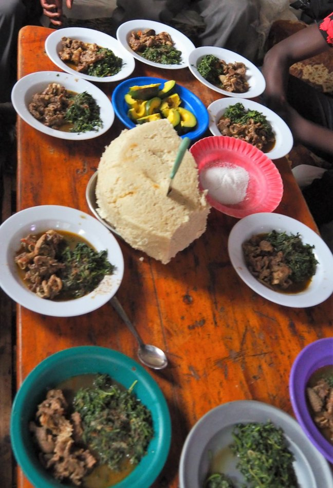 Ugali, vegetable and goat meat