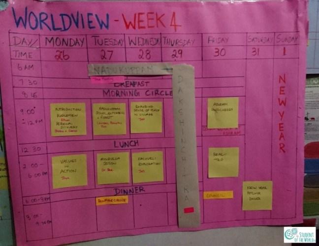 Schedule World-View week