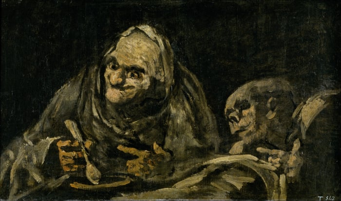Two old men eating soup (The witchy brew) by Goya