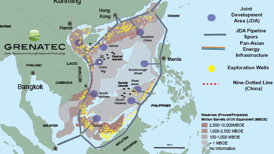 Ambiguities over China's nine-dotted line is hindering development of South China Sea oil and gas supplies. Joint Development Zones connected to multilateral infrastructure could solve this problem. Source: US EIA, Klaudia & Sandler, 2005, Grenatec