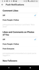 Coment Likes, Likes and Comments on your own photos