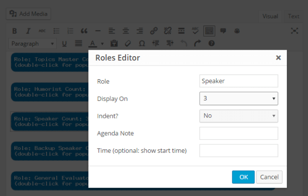 Editing the parameters for a role