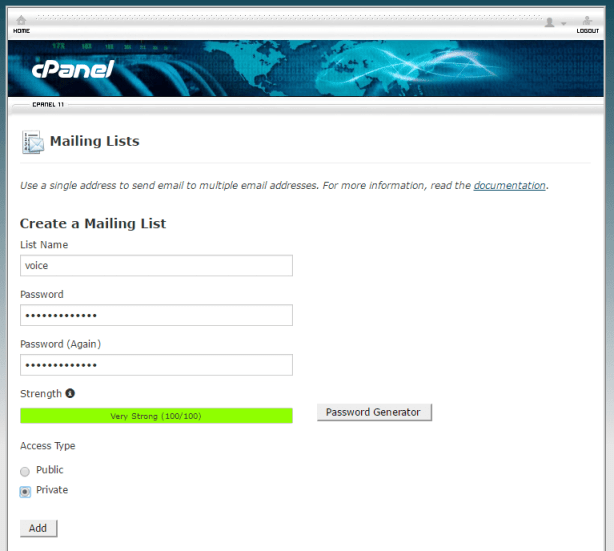 Mailman list setup in Cpanel