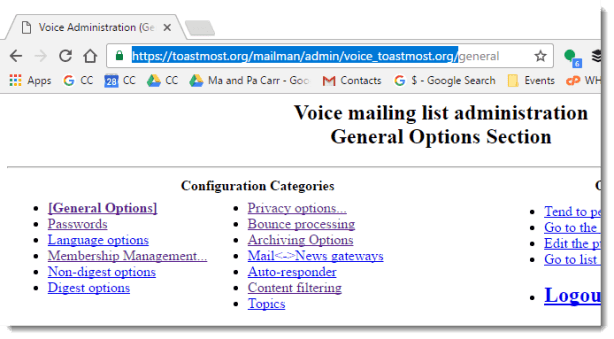 Copying the root url for Mailman