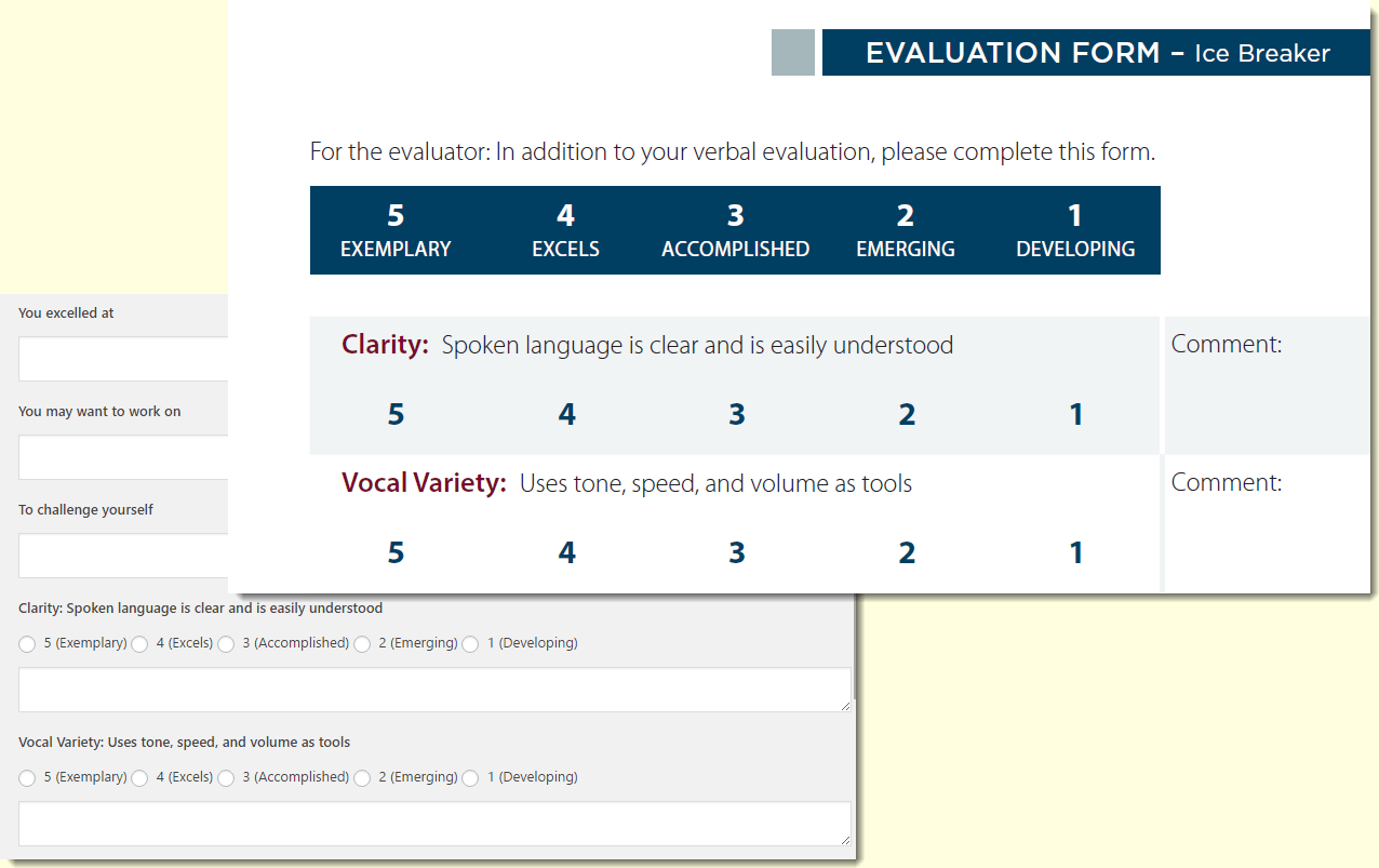 online evaluation forms for online clubs wordpress for toastmasters