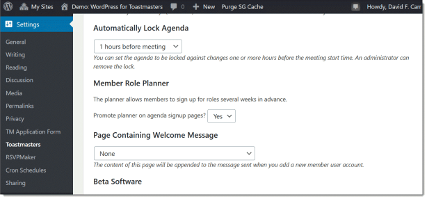 Screenshot option to automatically lock the agenda in Toastmasters settings