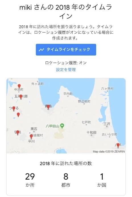 メールで届いたGoogleマップのタイムライン情報
