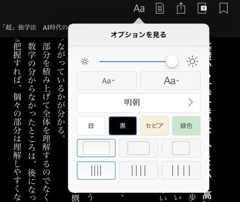 Kindleのオプション画面