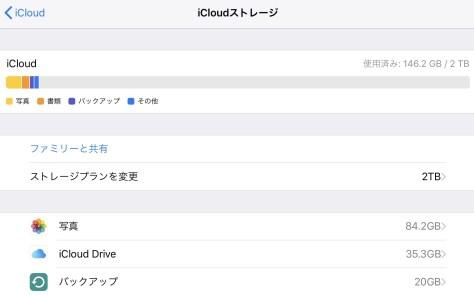iPadのiCloudの画面