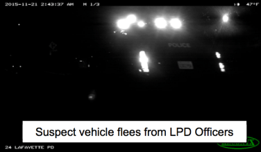 A video screen capture of police cars pursuing the two stolen cars. Photo: LPD