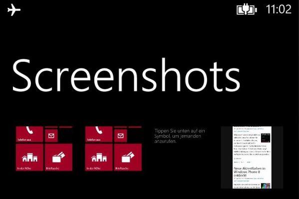 screenshots in windows phone 8
