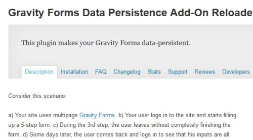 Gravity Forms Data Persistence Add-On